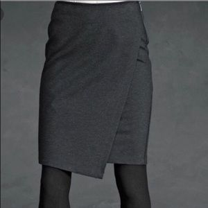 CAbi Charcoal Faux Wrap Ponte Pencil Skirt